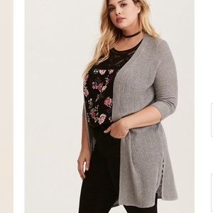 Torrid Ribbed Knit Lace Up Side Cardigan Sweater